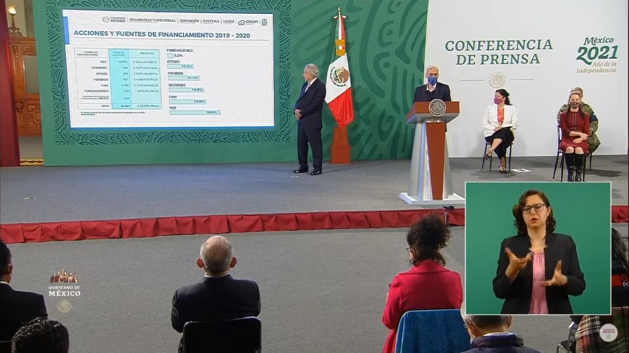 Conferencia matutina para informar sobre los avances del Programa Nacional de ReconstrucciónMX