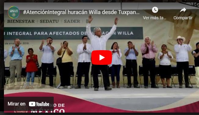 #AtenciónIntegral huracán Willa desde Tuxpan, Nayarit. | Gobierno de México.